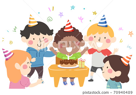 Kids Desk Birthday Party Cake Illustration 70940489
