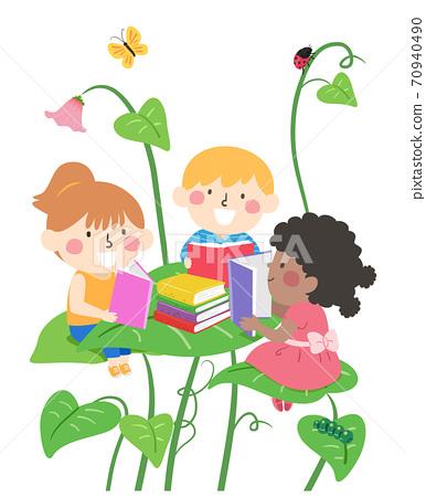 Kids Reading Book Big Leaves Fantasy Illustration 70940490