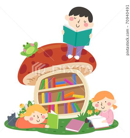 Kids Read Mushroom Bookshelf Outdoors Illustration 70940491