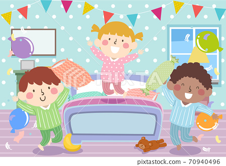 Kids Pajama Bedroom Party Bunting Illustration 70940496