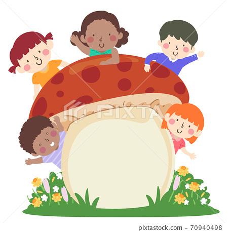 Kids Mushroom Board Wave Flowers Illustration 70940498