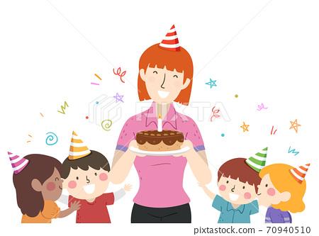 Kids Girl Teacher Birthday Cake Illustration 70940510