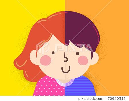 Kids Girl Boy Half Dual Illustration 70940513