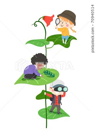 Kids Explore Leaves Flower Insect Illustration 70940514