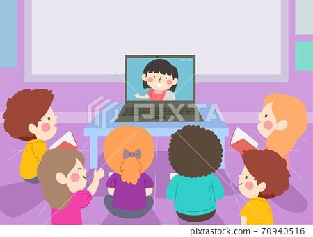 Kids Classroom Watch Classmate Laptop Illustration 70940516