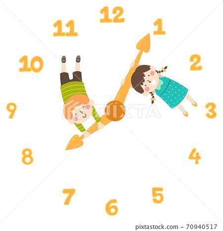 Kids Clock Hands Arrows Illustration 70940517