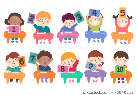 Kids Classroom Tablet Numbers Illustration 70940518