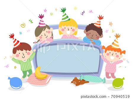 Kids Bedroom Party Bed Board Confetti Illustration 70940519