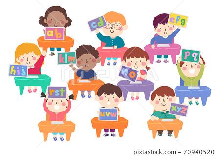 Kids Classroom Desk Tablet Alphabet Illustration 70940520