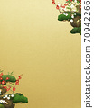 Japanese style background of Shochikuume and gold leaf-There are multiple variations 70942266