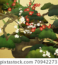 Japanese style background of Shochikuume and gold leaf-There are multiple variations 70942273