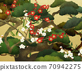 Japanese style background of Shochikuume and gold leaf-There are multiple variations 70942275