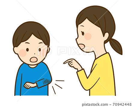소매가 더러운 것을 아이에게 가르치는 엄마 70942448