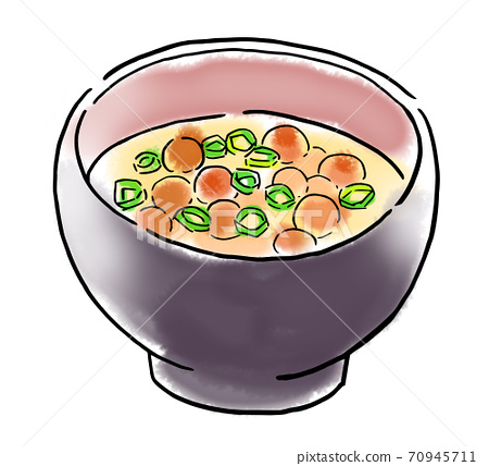 Food illustration nameko miso soup 70945711