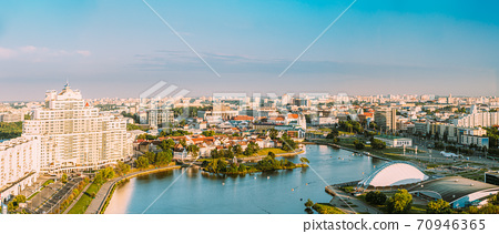 Minsk, Belarus. Elevated View Of Historical Center, Old Town. Minsk Skyline In Sunny Summer Evening. Holy Spirit Cathedral In Nemiga District In Sunset. Aerial View Of Belarusian Capital. Panorama 70946365