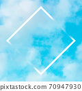 Vector teal blue sky background with puffy clouds and a frame, an abstract design template 70947930