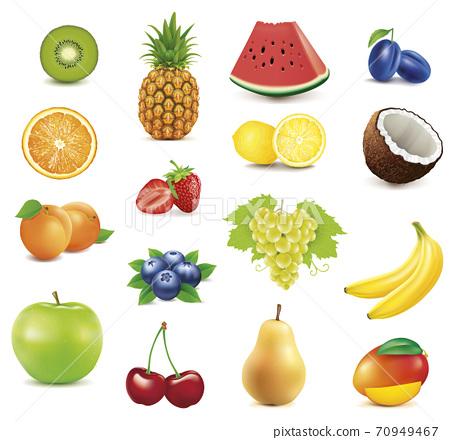 roup of many fresh fruit - apple, lemon, apricot, strawberry, blueberry, grape, orange, cherry, pear, coconut, banana, plum, kiwi 70949467