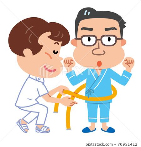 健康檢查,腹圍測量,代謝檢查,中年男性插圖 70951412