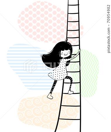 Girl Doodle Climb Ladder Illustration 70954982
