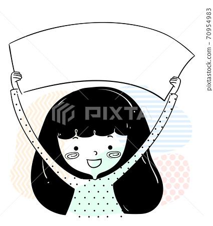 Girl Doodle Hold Blank Banner Illustration 70954983
