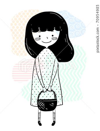 Girl Doodle Carry Basket Illustration 70954985