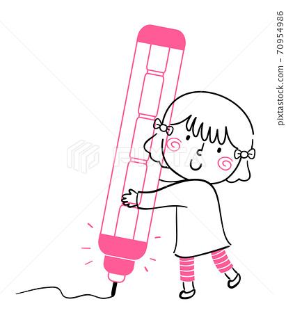 Kid Girl Doodle Mechanical Pencil Illustration 70954986