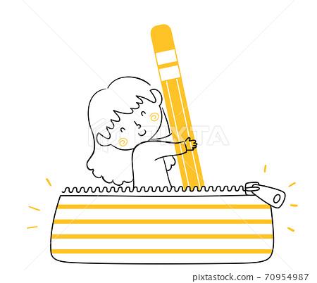 Kid Girl Doodle Pencil Case Pouch Bag Illustration 70954987