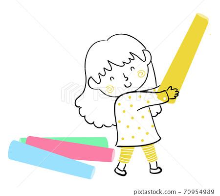 Kid Girl Doodle Hold Colored Chalk Illustration 70954989