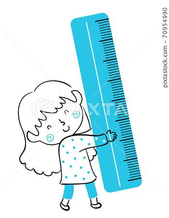 Kid Girl Doodle Blue Ruler Illustration 70954990