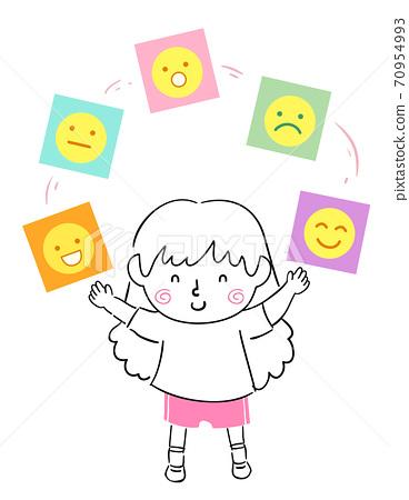 Kid Girl Balanced Emotional Quotient Illustration 70954993