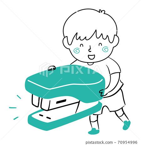 Kid Boy Doodle Stapler Illustration 70954996