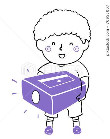 Kid Boy Doodle Pencil Sharpener Illustration 70955007