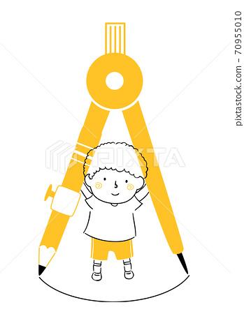 Kid Boy Doodle Drawing Compass Illustration 70955010
