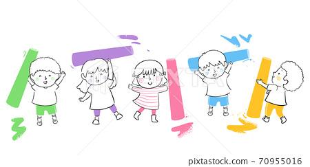 Kids Doodle Colorful Chalks Illustration 70955016