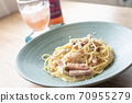 Pasta with bacon and mushrooms 70955279