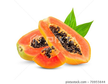 ripe slice papaya with leaf isolated on white background. full depth of field 70955644