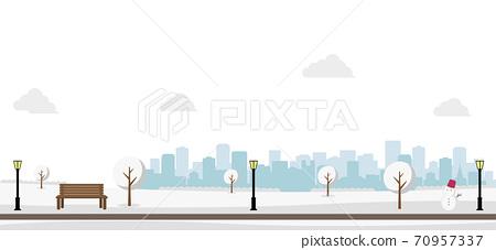 冬季公園與雪,水平橫幅圖 70957337