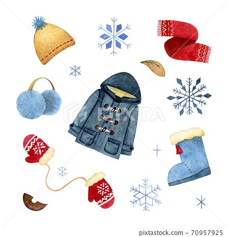 手繪水彩畫|冬天的衣服防寒插圖集 70957925