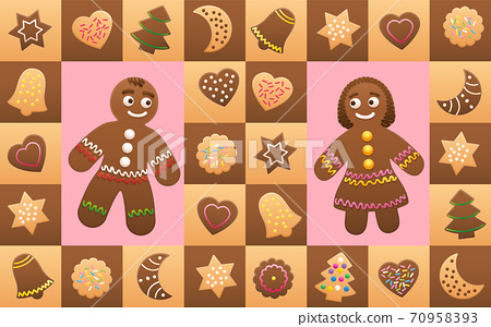 Christmas cookies with gingerbread man and woman in love - cookies and symbols, typical shapes like christmas trees, hearts, stars, moons, bells. Vector illustration background. 70958393