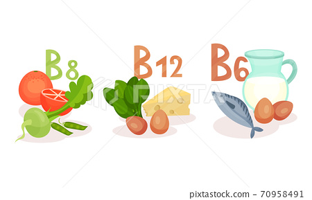 Food Vitamin Group as Healthy Nutrition Vector Composition Set 70958491