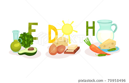 Different Food Grouped by Vitamin as Healthy Nutrition Vector Set 70958496