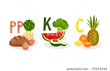 Different Food Grouped by Vitamin as Healthy Nutrition Vector Set 70958498