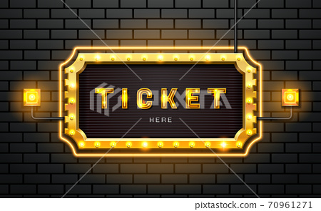 light neon sign ticket on brick wall background 70961271