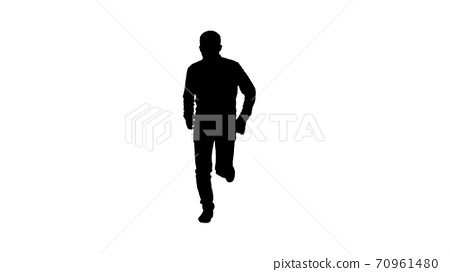 Silhouette Man in casual speeding up and starts running fast. 70961480