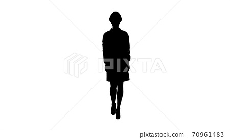 Silhouette Woman engineer in white robe and white hard hat walki 70961483