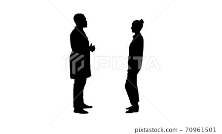 Silhouette Acquaintance doctor with a patient. 70961501