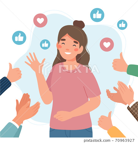 Happy young woman surrounded by hands with thumbs up and applauding. Success and social approval and acceptance concept 70963927