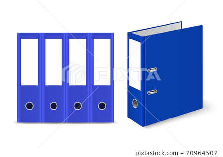 Vector 3d Closed Realistic Blue Blank Office Binder with Metal Rings for A4 Paper Sheet Set Closeup Isolated on White Background. Design Template, Mockup, Front, Side, Back View 70964507