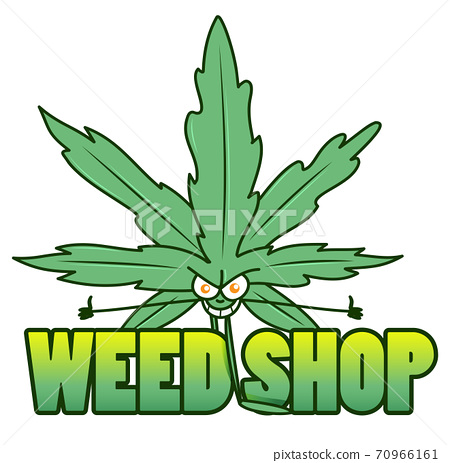 Medical marijuana shop. Logos with hemp leaves, joints, and smoking devices. vector illustration 70966161