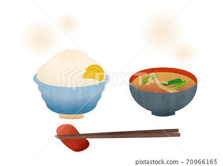 Material illustration of freshly cooked white rice and miso soup 70966165